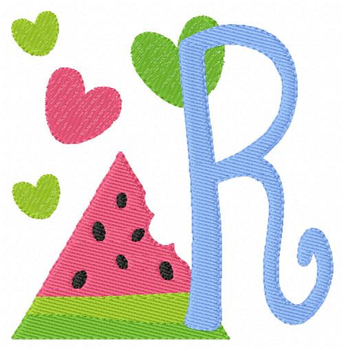 Watermelon Hearts Summer Monogram Embroidery Font Design Set