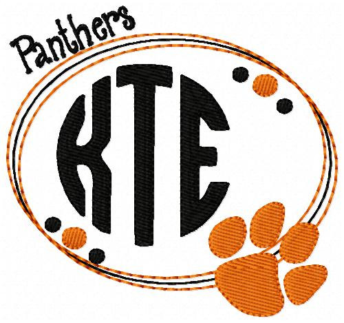 Panthers, Paw Print, Three 3 Letter, Machine Embroidery Design Monogram Font Design Set