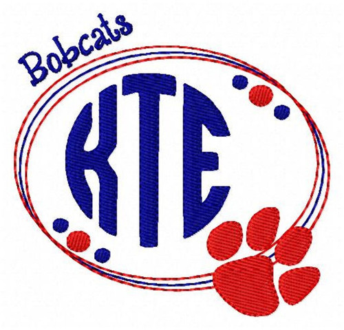 Bobcats, Paw Print, Three 3 Letter, Machine Embroidery Monogram Machine Embroidery Font Design Set