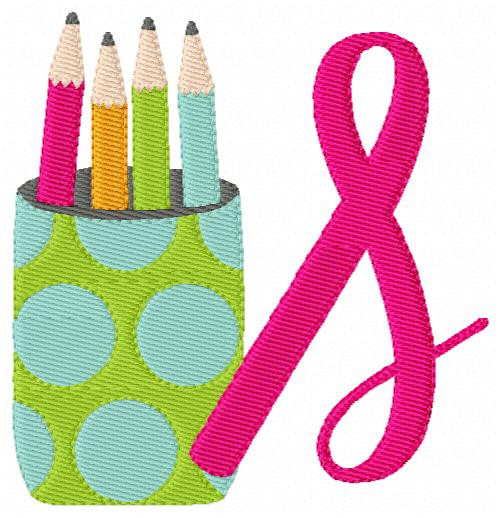 Desk Pencil Holder Cup Monogram Embroidery Font Design Set