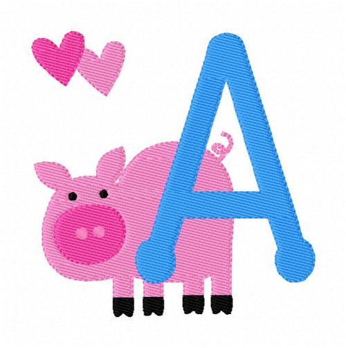 This Little Piggie Pig Farm Monogram Embroidery Font Design Set