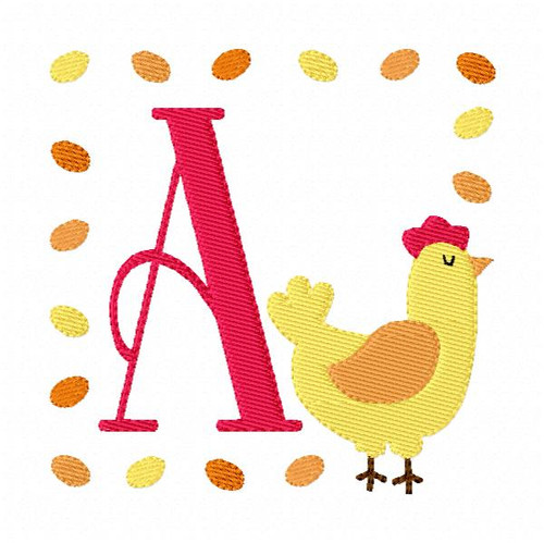 Rooster Chicken Farm Machine Embroidery Monogram Embroidery Font Design Set