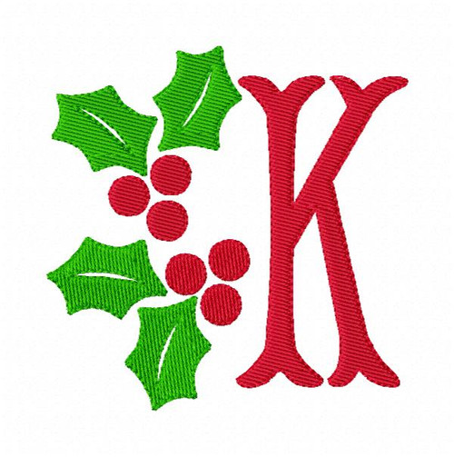 Christmas Holly Monogram Embroidery Font Designs Set