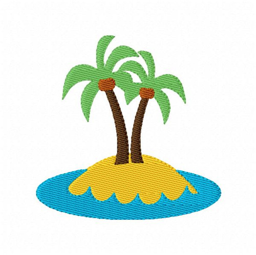 Vacation Island Machine Embroidery Design - 2 sizes included