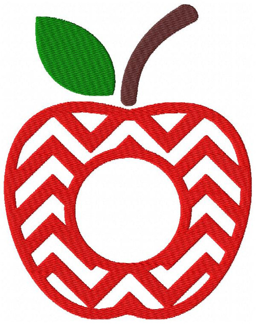 Apple Chevron Zig Zag Monogram Frame Embroidery Design, 2 Sizes - Letters not included
