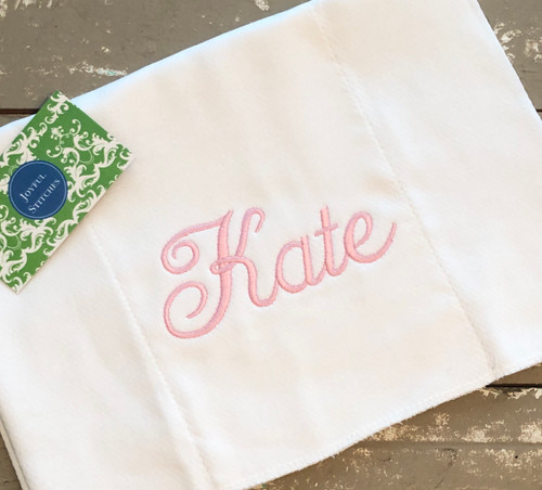 Baby Burp Cloth with Embroidered Name