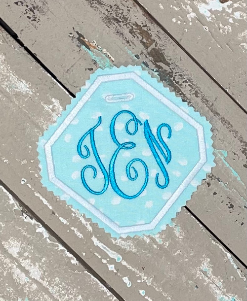 Something Blue Wedding Dress or Bouquet Monogram Label for Brides