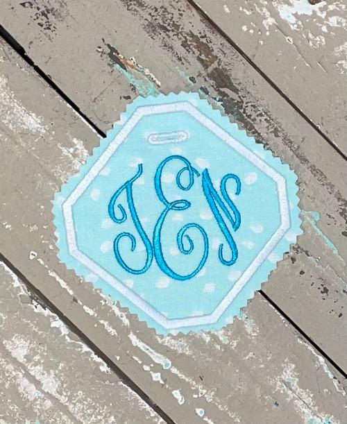 Something Blue Wedding Dress or Bouquet Monogram Label for Brides