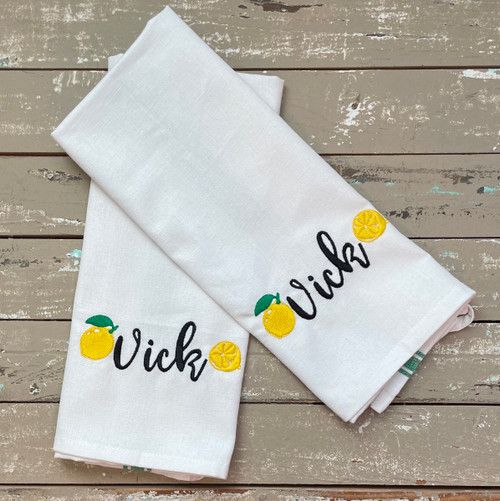 2 Kitchen Towels with Lemon Design and Embroidered Name