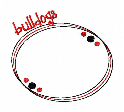 Bulldogs Oval Monogram Embroidery Frame Only Design (No Letters Included)