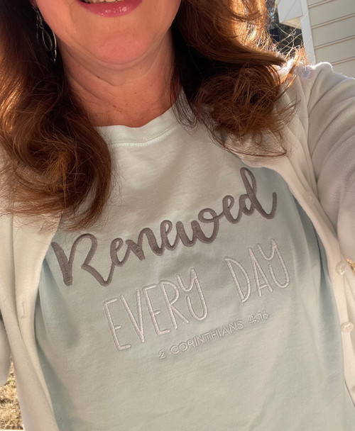 Renewed Every Day Comfort Wash Light Blue Long Sleeve T Shirt