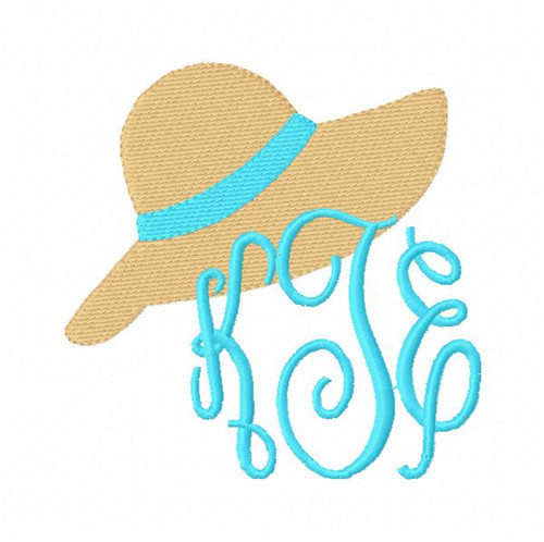 Floppy Beach Hat Monogram Embroidery Frame Topper Only Design (No Letters Included)