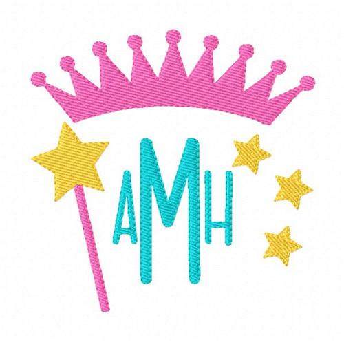 Princess Three Letter Monogram Embroidery Design Set