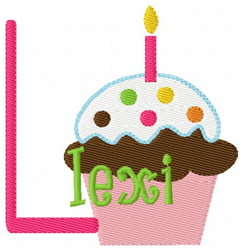 Birthday Cupcake 13 Monogram Set