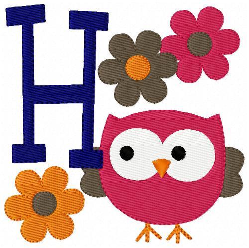 Fall Owl Monogram Set