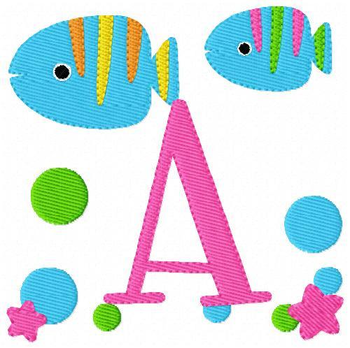 Tropical Fish Monogram Set