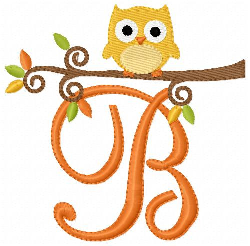 Fall Baby Owl Cutie Monogram Set