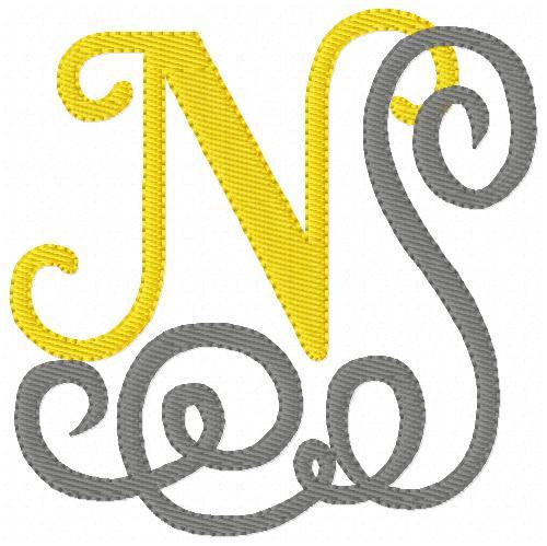 Yellow and Grey Swirl Monogram Set