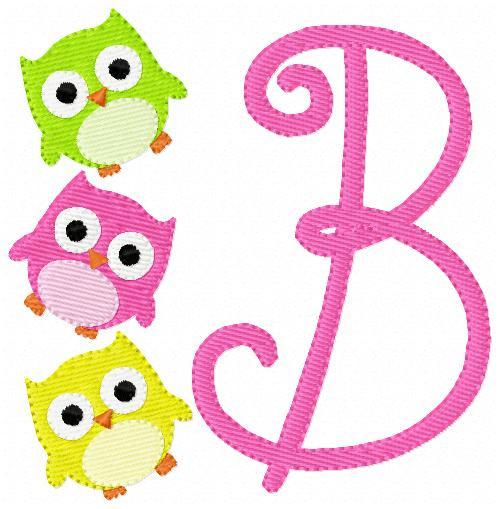 Three Little Owls Monogram Set