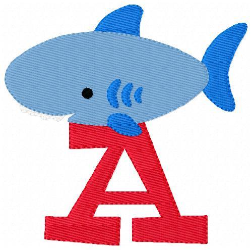 Shark Monogram Embroidery Design Font Set
