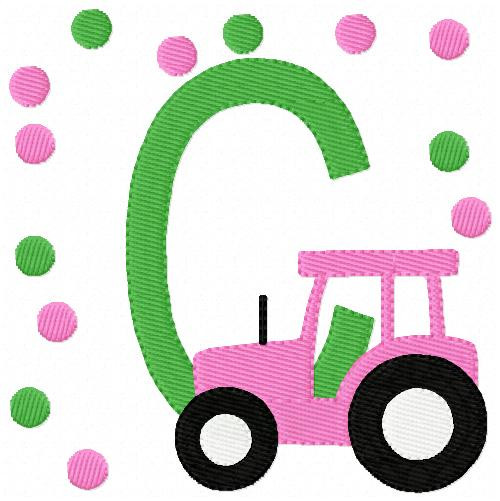 Pink Tractor Farm Monogram Set