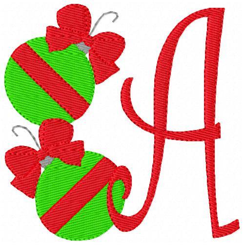 Christmas Bow Ornament Monogram Set