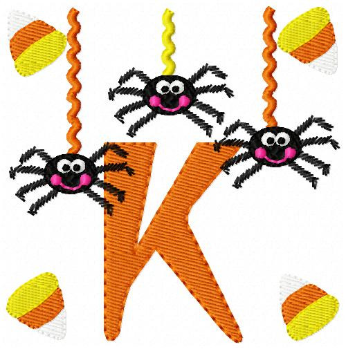 Cute Spiders Hanging Around Fall Monogram Set