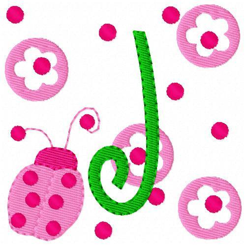 Pink Ladybug Whimsical Monogram Set