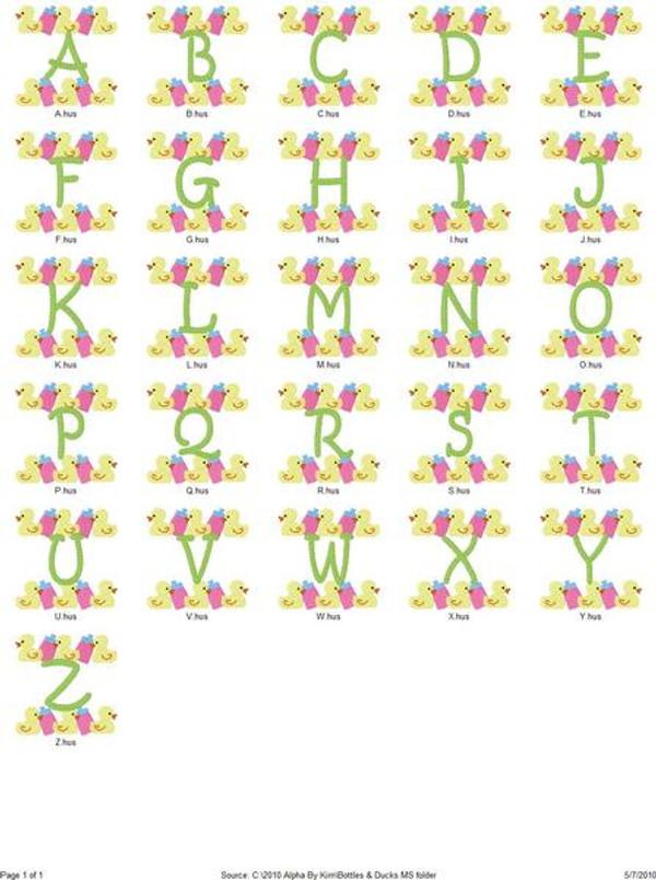 Baby Bottles and Duckies Monogram Set