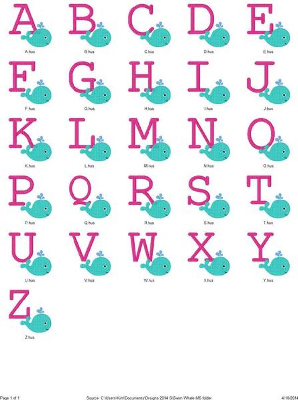 Cutie Swim Whale Monogram Set