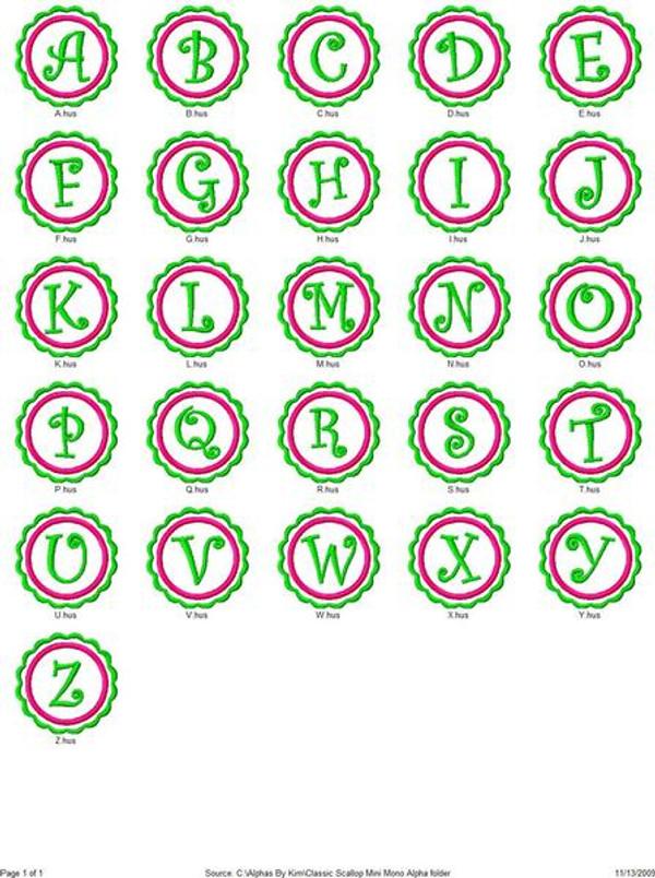 Classic Scallop Mini Monogram Set