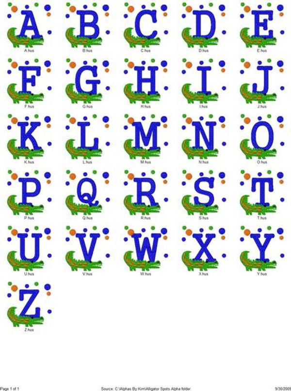 Gator Alligator & Dots Monogram Set