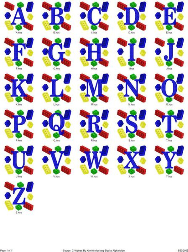 Interlocking Colorful Blocks Monogram Set