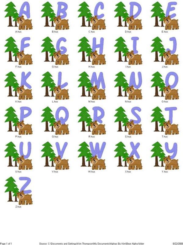 Bear Fun Monogram Set