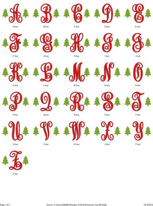 Christmas Tree Monogram Set