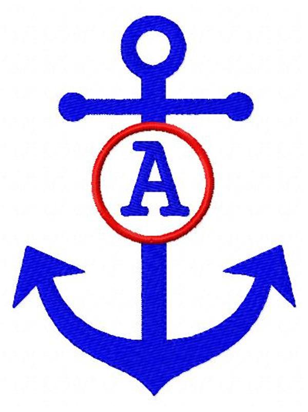 Anchor Summer Circle 5x7 Monogram Set