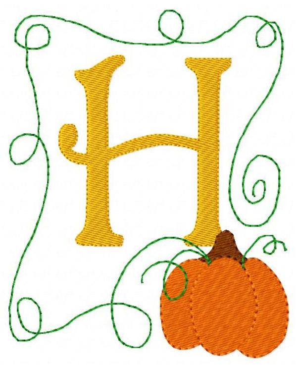 Pumpkin Vine 5x7 Fall Monogram Set