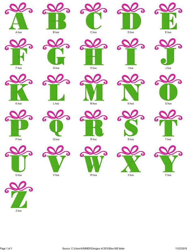 Bow Christmas Birthday Gift Monogram Font Design Set