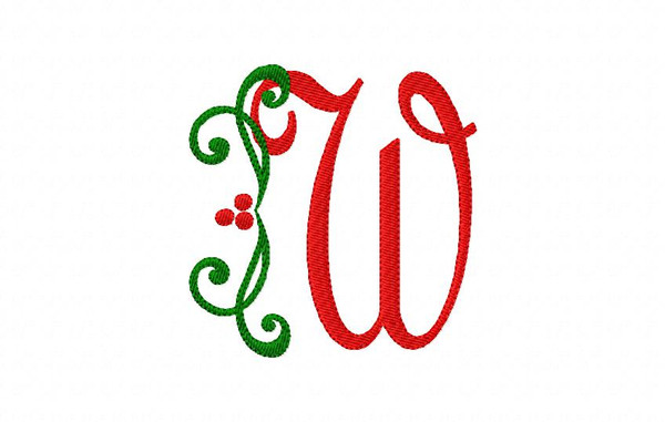 Holly Christmas Machine Embroidery Monogram Font Design Set