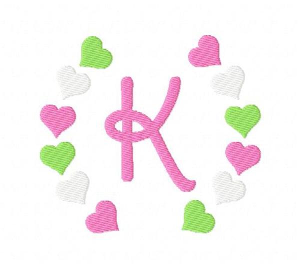 Hearts Valentine Wreath Monogram Set