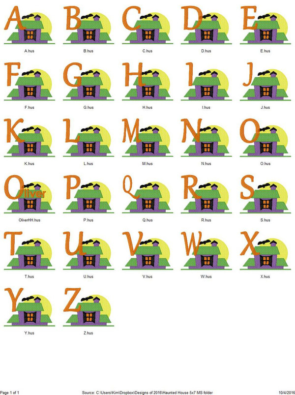 Haunted House Spooky Halloween 5x7 Machine Embroidery Monogram Font Design Set