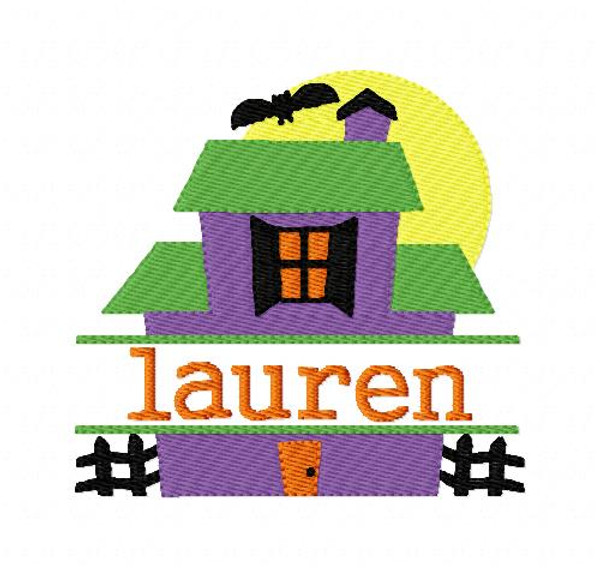 Haunted House Halloween 4x4 Split Machine Embroidery Monogram Font Set Joyful Stitches Instant Download