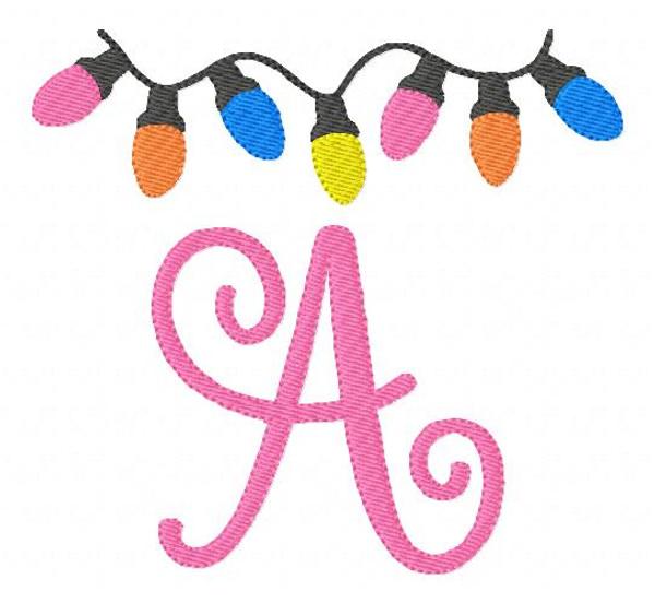 Christmas Lights 5x7 Machine Embroidery Monogram Font Design Set