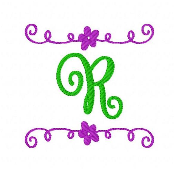 Girlie Flower Swirl Machine Embroidery Monogram Design Set