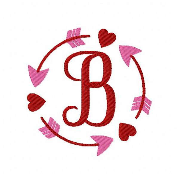 Valentine Heart Arrow Circle Monogram Set