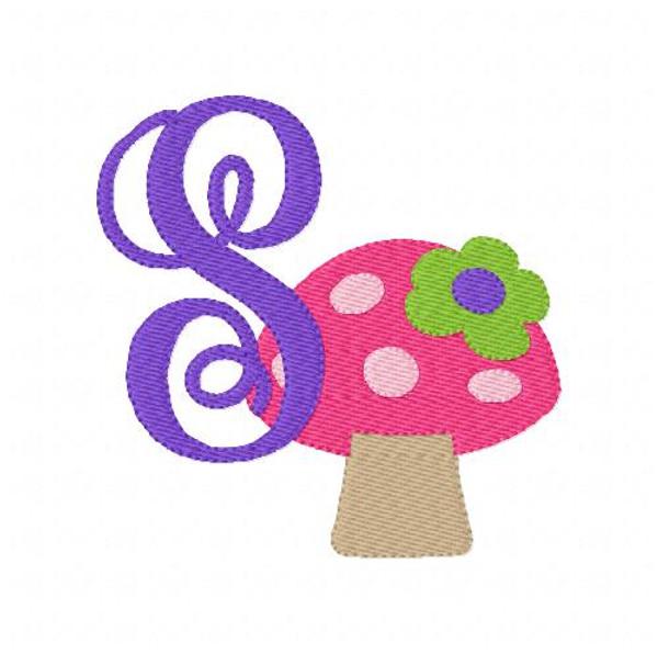 Mushroom with Flower Monogram Embroidery Font Set