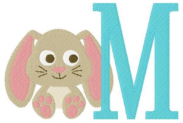 Baby Bunny Easter 5x7 Monogram Set