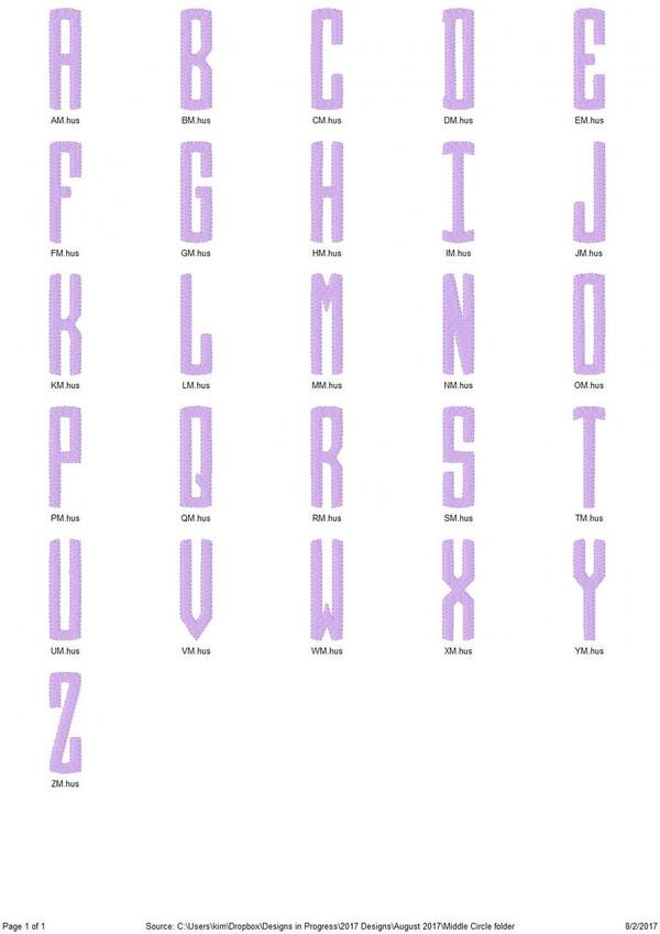 Pencil Circle School Three Letter Monogram Machine Embroidery Font Design Set