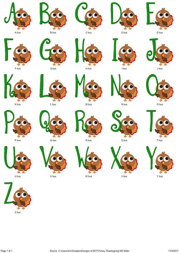 Turkey Thanksgiving Monogram Set