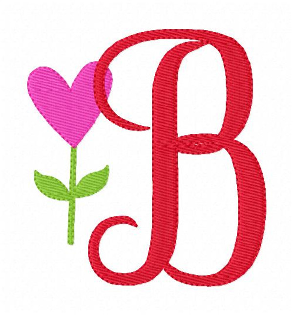 Heart Flower Monogram Set